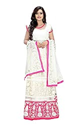 Priyanshu Creation Women's Net White Dress Material