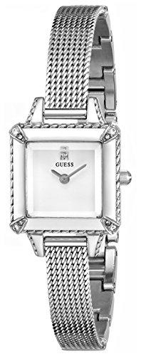 Guess Women'S U0531L1 Silver-Tone Mesh Watch With Genuine Diamond Marker & Self-Adjustable Bracelet