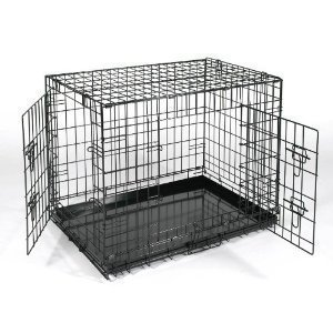 "XXL Extra Large 48"" Black Metal Dog Training Cage Carrier"