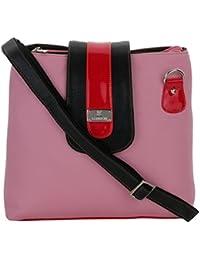 K London Medium Sized Casual Artificial Leather Handbag Sling Bag For Women & Girls (Pink,Black & Red) (1303_PINK)