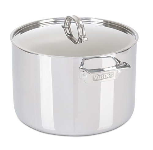 Viking Culinary 3-Ply Stainless Steel Stock Pot with Metal Lid, 12 Quart