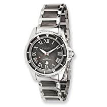 Ladies Chisel Stainless Steel & Ceramic Black Dial Watch