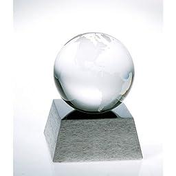 Globe Optical Crystal Award with Aluminum Base