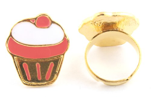 Girl Gold with Peach Cupcake Style Metal Adjustable Finger Ring