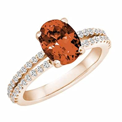 Ryan Jonathan Split Shank Garnet and Diamond Ring in 14K White Gold