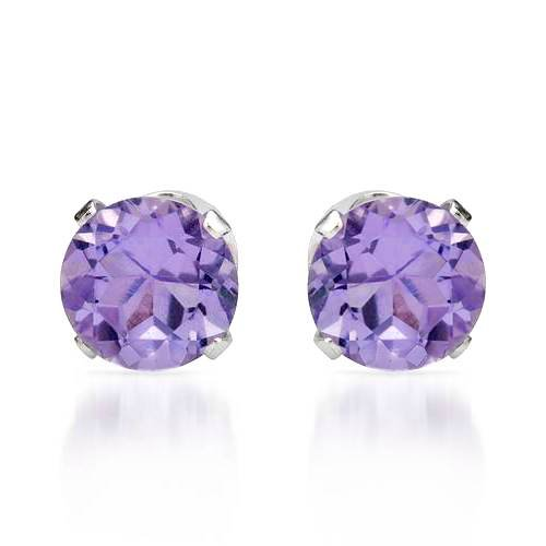 Stud Earrings With 1.55ctw Genuine Amethysts in 925 Sterling silver