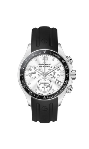 Claude Bernard Men's 10207 3 AIN Aquarider Silver Chronograph Tachymeter Rubber Watch