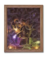 Dragon Fire Medieval Wizard # 4 Home Decor Wall Picture Oak Framed Art Print