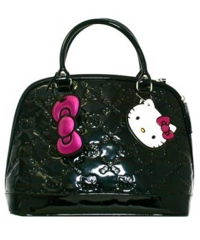 Hello Kitty Bag – Small Black Patent Embossed Tote Bag