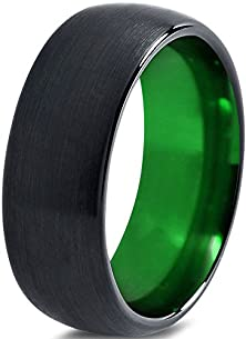buy Tungsten Wedding Band Ring 8Mm For Men Women Green Black Domed Brushed Polished Lifetime Guarantee Size 9.5
