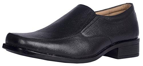 KingsToy Men's Black Leather Formal Slip On - B013ATOVRA