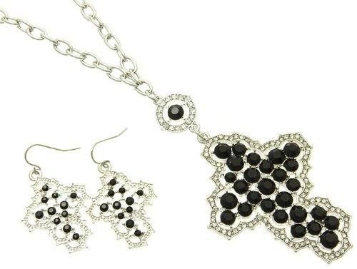 NECKLACE AND EARRING SET METAL CHAIN CRYSTAL STONE PAVED BLACK Fashion Jewelry Costume Jewelry fashion accessory Beautiful Charms