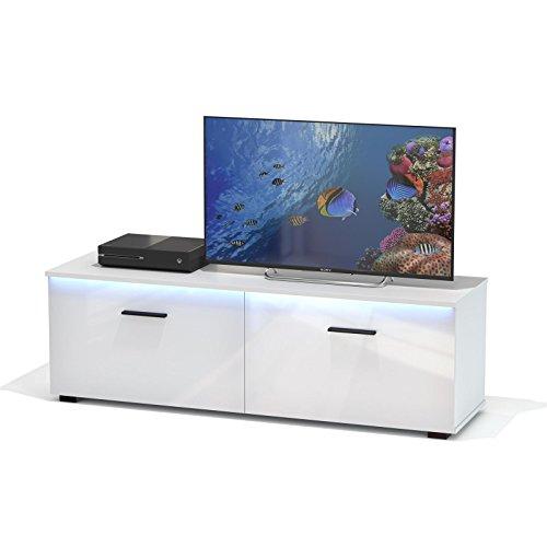 TV-Lowboard-Schrank-MALIBU-in-wei-Hochglanz-mit-LED-Beleuchtung