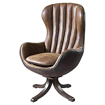 "47"" Toffee Brown Faux Suede and Faux Leather Vintage Styled Swiveling Accent Chair"
