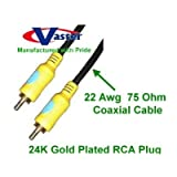 Vastercable Digital Video Coaxial Cable 24K S/PDIF Subwoofer Speaker Coaxial (22Awg) Audio Cable 15 Ft
