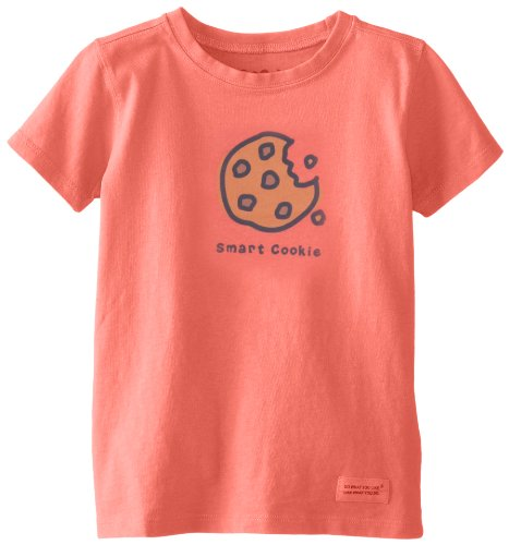 Life Is Good Toddler Crusher Smart Cookie Tee, Sunset Coral, Xx-Small front-940836