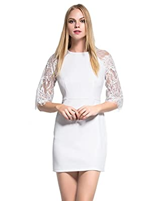 Mantos Eternity Women's Half Sleeves Sheer Back Slim Lace Clubwear Cocktail Dress