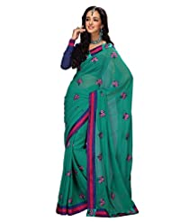 Prafful Gorgette Saree With Unstitched Blouse - B00KNUK278