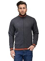 AWG Men's Premium Rich Cotton High Neck Hoodie Sweatshirt - Charcoal Grey