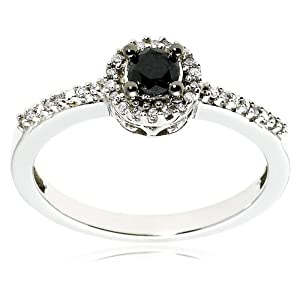 Click to buy 14K White Gold Black Diamond Ring from Amazon!
