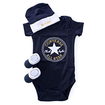 Converse All Star Infants 3 Piece Set Baby Grow Beanie