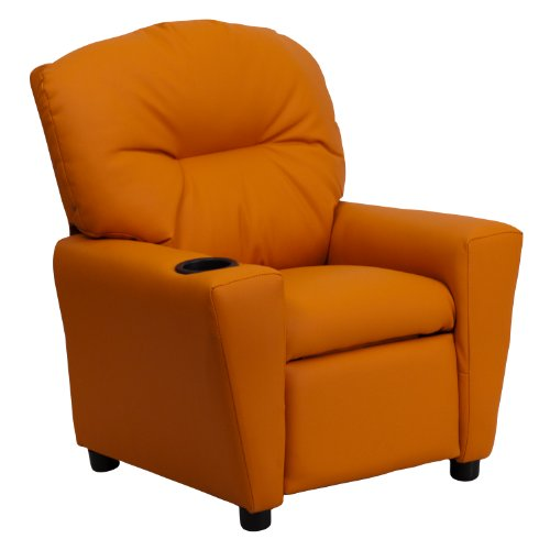 MFO Contemporary Orange Vinyl Kids Recliner with Cup Holder