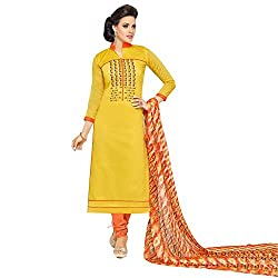pakiza design new arrival chanderi cotton yellow party wear salwar suit dress material