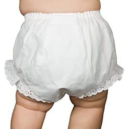 I.C. Collections Baby Girls White Double Seat Diaper Cover Bloomers, Size S