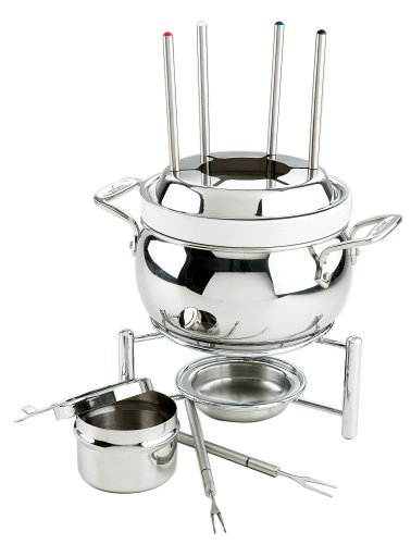 All-Clad 59936 Stainless Steel Fondue Pot with Ceramic Insert Cookware, Silver