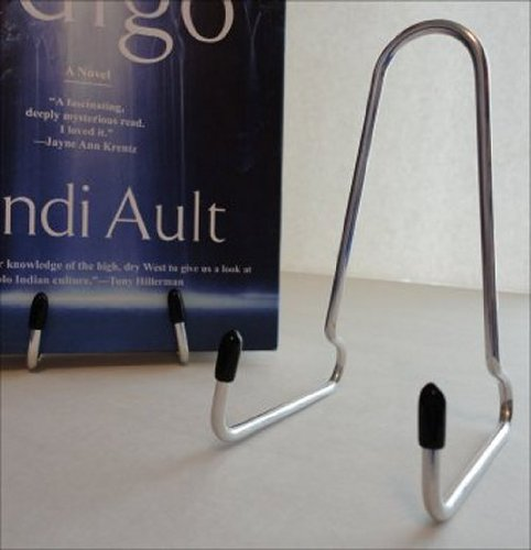 Book Stand, Straight Back, Aluminum, with Black Plastic Tips