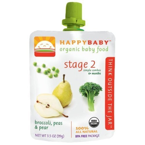 Happybaby Organic Baby Food Stage 2 Meals Ages 6+ Months Broccoli, Peas and Pear - 3.5 Oz, Pack of 6