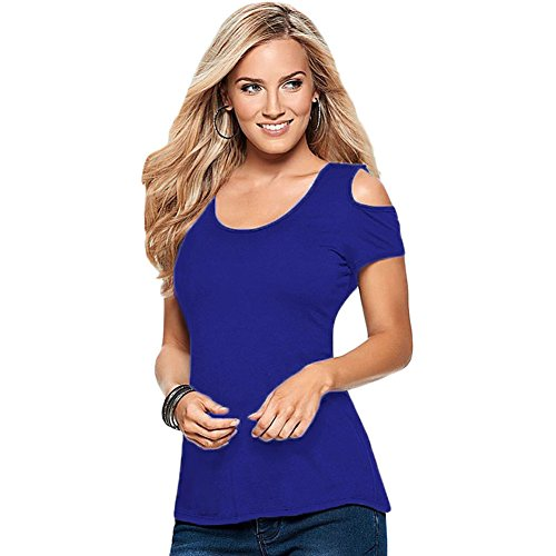 meinice Crochet posteriore Cold Shoulder Top Blue Medium