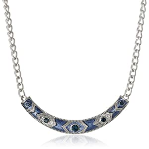 Signature 1928 Silver-Tone Sapphire Blue Enamel Collar Necklace, 16