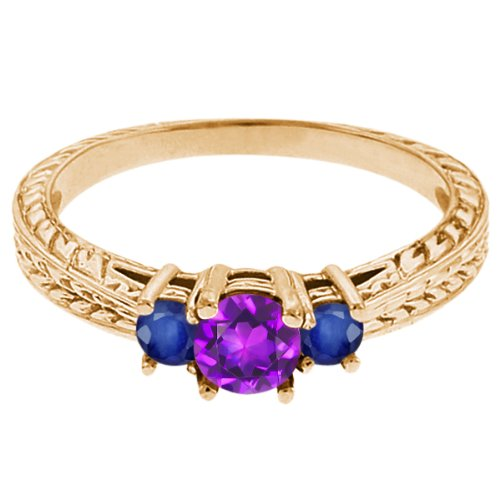 0.62 Ct Round Purple Amethyst Blue Sapphire 14K Yellow Gold 3-Stone Ring