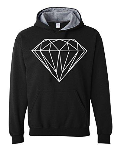 Artix Diamond White Lines Contrast Color Unisex Hoodie Large Black (Diamond Supply Co T Shirt Womens compare prices)