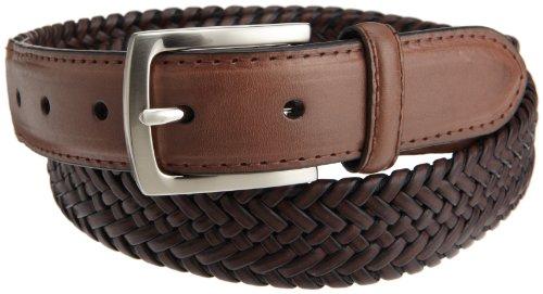 Dockers Mens 30mm Tubular Stretch Braided Belt, Brown, 36