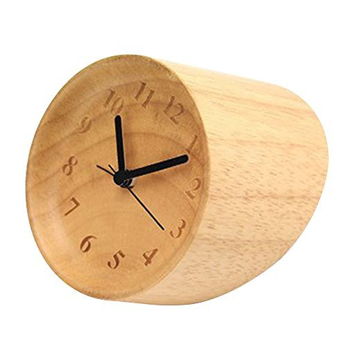 Happy Hours - Natural Wooden Compact Desk Clock / Creative Numbers Engraved Raised Bezel Dial Plate Silent Quartz Clock / Chic Villa Minimalist Decor (Hands Free Gear Clock compare prices)