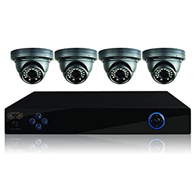 Night Owl Security B-PE45-4DM7 4-Channel DVR System with 500GB HDD, HDMI Output, 4 Hi-Res 700 TVL Dome Cameras (Black)