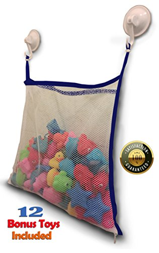 Ily Luly Mesh Bath Toy Organizer with Zipper/Hook and 12 BPA-Free Baby Toys, Blue