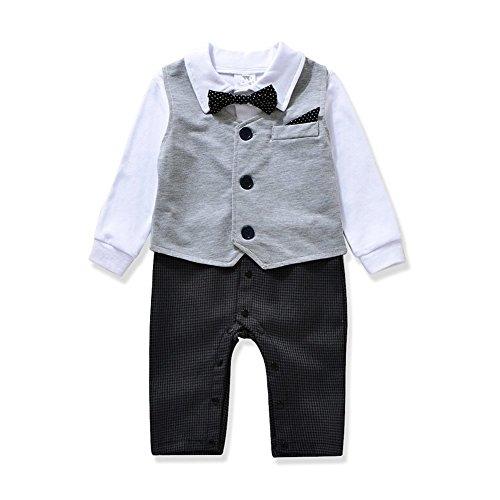 buy Cute Gentleman style Baby Boy's Romper & Vest & Bowtie 3 Pieces Clothes Suit 2 Color (80(6-12months), Gray) for sale