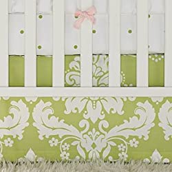 Serena and Lily Sprout Green Damask Crib Skirt