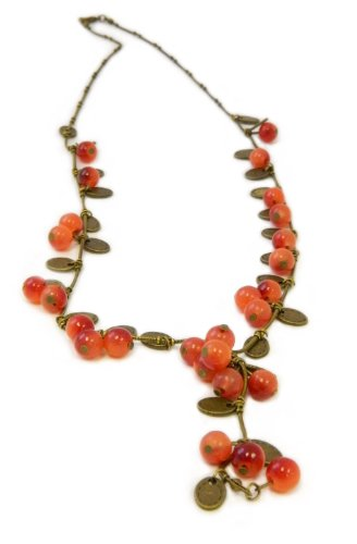 Red Murano Glass Bead Berry & Leaf Cluster Necklace
