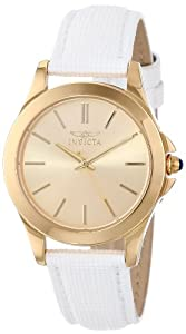 """Invicta Women's 15149 """"Angel"""" 18k Yellow Gold Ion-Plated Stainless Steel and White Leather Watch"""