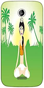 Snoogg female doing yoga on green invirement Designer Protective Back Case Cover For Micromax A116