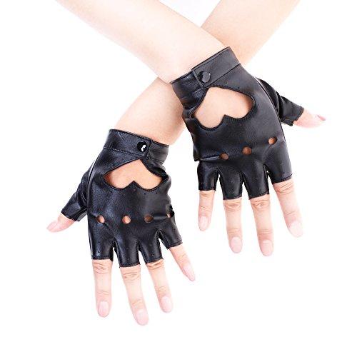 JISEN Sexy Women Heart Cutout Punk Half Finger PU Leather Performance Gloves Black