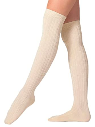 American Apparel Ribbed Modal Over-the-Knee Sock - Crème / One Size