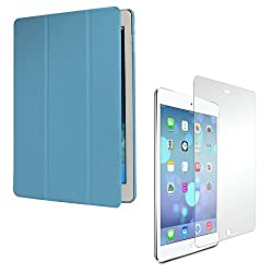 DMG Ultra Slim Light Weight Tri-Fold Stand Translucent Back Cover Case For Apple iPad Air / iPad 5 (Blue) + Matte Screen