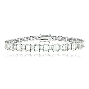 Sterling Silver 11 CTW Total Carat Weight Emerald Cut simulated Diamond cz Tennis Bracelet