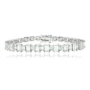 Sterling Silver 11ct CZ Emerald Cut Tennis Bracelet