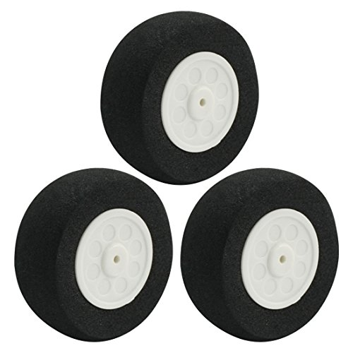 3pcs RC Model Airplane 2mm Shaft Dia Sponge Tire Wheel 45mm 1.8""